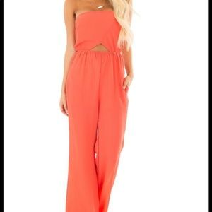 Coral strapless jumpsuit